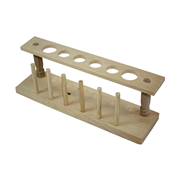 Picture of Laboratory Supplies-Test Tubes Accessories Racks Livingstone Test Tube Rack Stand, Biodegradable Wood, 4 x 20mm and 2 x 25mm Test Tube Diameters, 6 Holes with 6 Pegs, Varnished, Each
