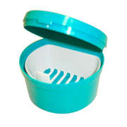 Picture of Cup Denture with hinged Lid Recyclable Plastic Cup Denture with hinged Lid Recyclable Plastic