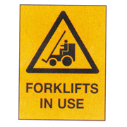 Picture of Dental-First Aid Stationery / Safety Signs Warning Signs Livingstone Printed Sign 'Forklift In Use', 225 x 300 mm, Metal, Each