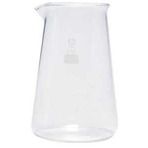 Picture of Glassware-Conical Beakers Low Form Borosilicate Glass with Spout Bomex Beaker, 250ml, Conical, Graduated with Spout, Borosilicate Glass, Each