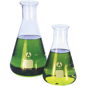 Picture of Laboratory-Flasks - Erlenmeyer (Conical) Graduated, Narrow Neck, Borosilicate Glass Livingstone Erlenmeyer Conical Flask, 1000ml, Narrow Neck, 42mm Neck Diameter, Borosilicate Glass, Graduated, Each
