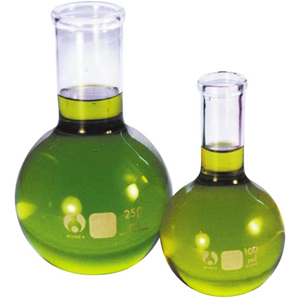 Picture of Laboratory Supplies-Flask Flat Bottom  Bomex Flask, Spherical/Boiling, Flat Bottom, 100ml, Clear, Glass, Each