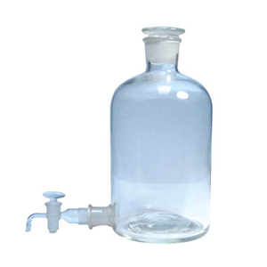 Picture of Glassware-Bottles Aspirator Bottles Clear Glass, Round Woulff Bottle, Aspirator Bottle, 5L, w/ Ground in Stopper and Outlet Stopcock, 45/40 24/29 SJ, Borosilicate Glass, Simax, Each (No. 1442)