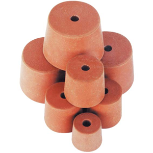 Picture of Laboratory Consumables-Stoppers Rubber, Single Hole Rubber Stopper, One Hole, 14mm Base x 19mm Top x 19mm Height, 10 per Pack