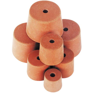 Picture of Laboratory Consumables-Stoppers Rubber, Single Hole Rubber Stopper, One Hole, 21.5mm Base x 28mm Top x 31mm Height, 10 per Pack
