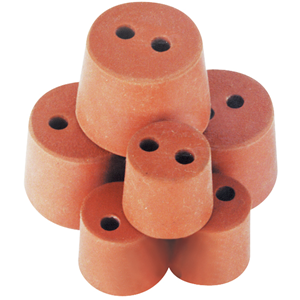 Picture of Laboratory Consumables-Stoppers Rubber, Double Hole Rubber Stopper, Two Holes, 16mm Base x 21mm Top x 20mm Height, 10 per Pack