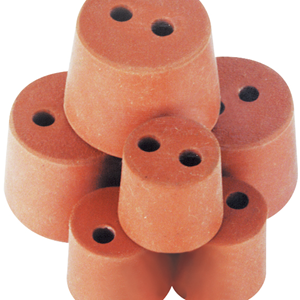 Picture of Laboratory Consumables-Stoppers Rubber, Double Hole Rubber Stopper, Two Holes, 28mm Base x 36mm Top x 31mm Height, 10 per Pack