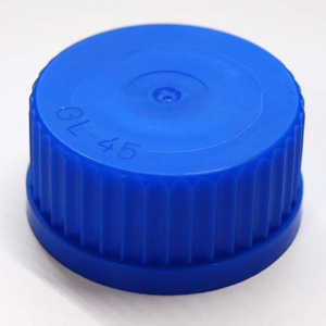 Picture of Laboratory Supplies-Bottles, Reagent Borosilicate Glass, Graduated with Screw Cap & Pouring Ring Clear Screw Cap for 100ml to 5L Laboratory Bottle, GL45, Blue, Polypropylene, Each