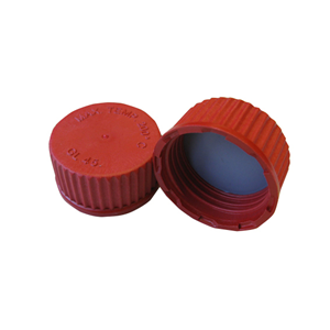 Picture of Glassware-Reagent Bottles Clear Borosilicate Glass, with Glass Cap Screw Cap for 100ml to 5L Laboratory Bottle, PTFE-Polytetrafluoroethylene Coated, GL45, Red, Each