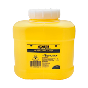 Picture of Sharps Disposal-Sharps Disposal Safes Large Lid Terumo Needles Sharps Waste Collector, 6.3L Capacity, with Lid, Yellow, Each