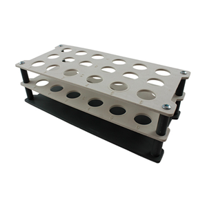 Picture of Plasticware-Racks Test Tube Racks Aptaca Test Tube Rack Stand, Recyclable PP, 20D mm, 18 Holes, 235x110x75 mm, Autoclavable, Stackable, Alphanumeric Embrossed Grid, Ea