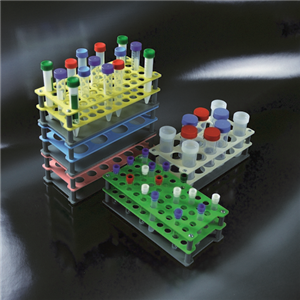 Picture of Plasticware-Racks Test Tube Racks Aptaca Test Tube Rack Stand, Recyclable PP, 24D mm, 18 Holes, 235x110x75 mm, Autoclavable, Stackable, Alphanumeric Embrossed Grid, Ea