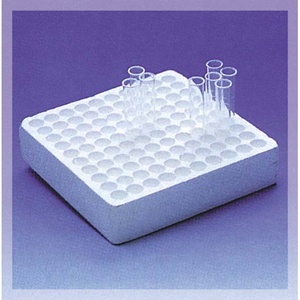 Picture of Plasticware-Racks Polystyrene Foam (PS) Test Tube Tray 220x220x50mm for up to 12mm Diameter Test Tubes 100 Positions, Styro-Foam