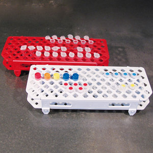 Picture of Scientific Supplies-Test Tube Racks  Microcentrifuge Microcentrifuge Tube Rack, for 1.5ml Micro Test Tubes, 100 Capacity, 265 x 126 x 38mm, Recyclable Plastic, Each