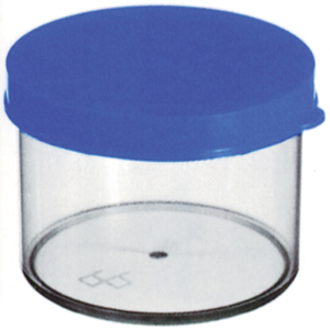 Picture of Plasticware-Containers Specimen Containers Polystyrene with Screw Cap Sputum Container, 60m, 34 x 60mm, with Press Cap, Recyclable Polystyrene, 400 per Bag