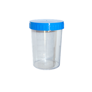 Picture of Laboratory-Urine Container Plastic Urine Container with Light Blue Screw Cap, 150ml Graduated up to 125ml, 60 (D) x 83mm, Polystyrene, Loose