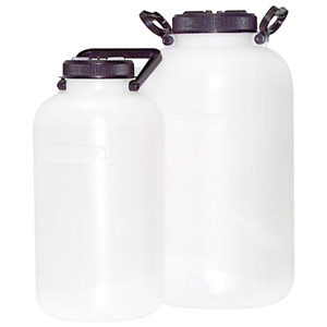 Picture of Plasticware-Carboys Wide Mouth Aptaca Storage Bottle with Inner Cap and Handle, 5L, 340mm Height, 170(D)mm Bottle, 94(D)mm Mouth, Wide Neck, HDPE, Each