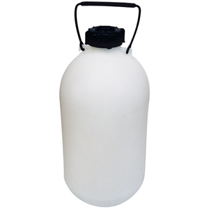 Picture of Plasticware-Carboys Narrow Mouth High Density Polyethylene with Screw Cap Aptaca Storage Bottle with Inner Cap and Handle, 5L, 345mm Height, 170(D)mm Bottle, 62.5(D)mm Mouth, Narrow Neck, HDPE, Each