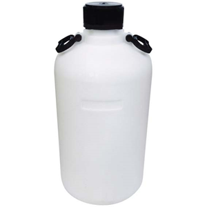 Picture of Plasticware-Carboys Narrow Mouth High Density Polyethylene with Screw Cap Aptaca Storage Bottle with Inner Cap and Handle, 25L, 565mm Height, 280(D)mm Bottle, 95.5(D)mm Mouth, Narrow Neck, HDPE, Each