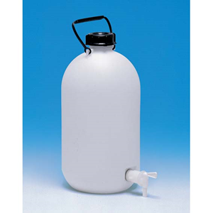 Picture of Plasticware-Carboys Narrow Mouth High Density Polyethylene with Screw Cap & Stopcock Aptaca Storage Bottle with Screw Tap and Inner Cap, 5L, 345mm Height, 170(D)mm Bottle, 62.5(D)mm Mouth, HDPE, Each