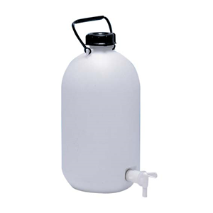 Picture of Plasticware-Carboys Narrow Mouth High Density Polyethylene with Screw Cap & Stopcock Aptaca Storage Bottle with Screw Tap and Inner Cap, 25L, 565mm Height, 280(D)mm Bottle, 95.5(D)mm Mouth, HDPE, Each