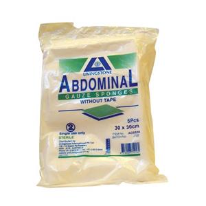Picture of Dressings-Gauze Sponges - Abdominal Sterile Abdominal Gauze Sponge, 30 x 30cm, Sterile, with Tape, Standard Fold, 5 per Pack, 50 Packs per Carton