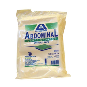 Picture of Bandages-Sterile Gauze Bandages Abdominal Gauze Sponge, 30 x 30cm, Sterile, with Tape, Standard Fold, 5 per Pack