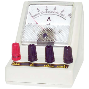 Picture of Livingstone Ammeter Triple Range Livingstone Ammeter, Triple Range,0 - 5mA/0 - 50mA/0 - 500mA DC, 4mm Socket, Round, Each