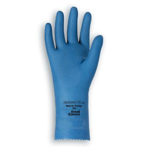 Picture of Gloves-Disposable Gloves Latex Gloves Ansell Hycare Latex Gloves, Natural Rubber, Blue, Small, Size 7, Pair (7393)