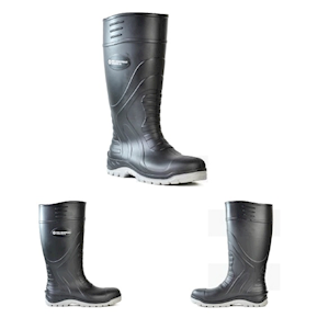 Picture of Protective Wear - Safety - Safety Boots - Worklite Bata Worklite Gumboots, Size 11, Lightweight Polyurethane, Safety Style, Black with Grey Sole, 1 Pair (89262020)