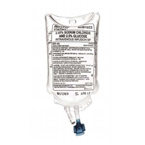 Picture of Healthcare-IV Administration IV Infusion Administration Solutions Baxter 0.45 Percent Sodium Chloride and 2.5 Percent Glucose Intravenous IV Infusion BP, 500ml, 18 per Carton