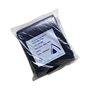 Picture of Livingstone Garbage Bags Livingstone Garbage Bag Bin Liner, Recyclable, 120 Litres, 110 x 95cm, 25 Microns, Heavy Duty, HDPE, Star Seal, Black, 25 per Pack