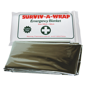 Picture of Laboratory-First AID Supplies / A-Z Equipment Surviv-A-Wrap Casualty Emergency Rescue Space Blanket, Survival Blanket, Thermal Blanket, 135 x 190cm, 13microns, Silver Colour, Each