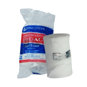 Picture of Healthcare-Wound Care Bandages Adhesive, Elastic Livingstone Conforming Bandage with Clips, 50mm x 4 Metres Stretched Length (1.5 Metres Unstretched), Each Roll