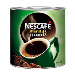 Picture of Hair & Beauty-Office Supplies Kitchen, Tableware & Bathroom Beverages & Food Products Coffee Nescafe Blend 43 Espresso Coffee, 375 Grams, Tin Can, Each