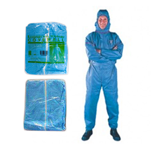Picture of Protective Wear-Gowns, Coats And Coveralls Coveralls Blue Universal Coveralls Protective Suit with Hood, 40gsm, Large, Non-Woven Recyclable Polypropylene and PE, Water Repellent, Blue, 50/Carton