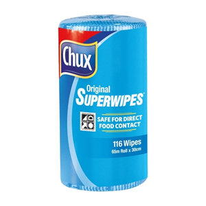 Picture of Chux Original Superwipes Perforated Chux Original Superwipes, 30cm x 65 Metres, Perforated, Blue, 4 Rolls Per Carton