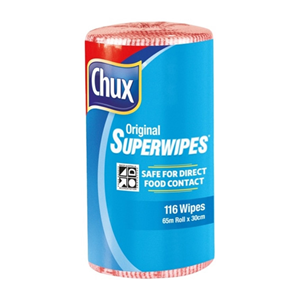 Picture of Chux Original Superwipes Perforated Chux Original Superwipes, 30cm x 65 Metres, Perforated, Red, 4 Rolls Per Carton